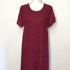 LuLaRoe Carly Burgundy Color Sequin Flowy Dress